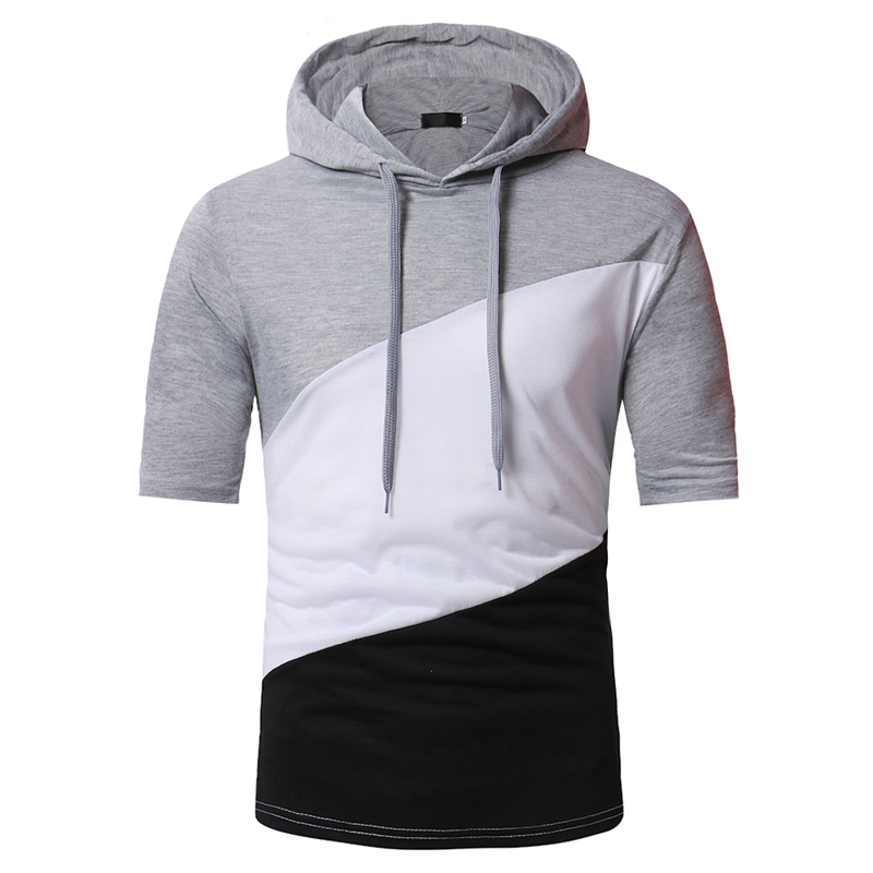 2018 fashion brand men's short-sleeved T-shirt hooded T-shirt fashion mosaic stitching casual sportswear men's summer T-shirt
