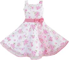 Sunny Fashion Robe Fille 3 Couches Rose Fleur Vague Reconstitution historique Mariage