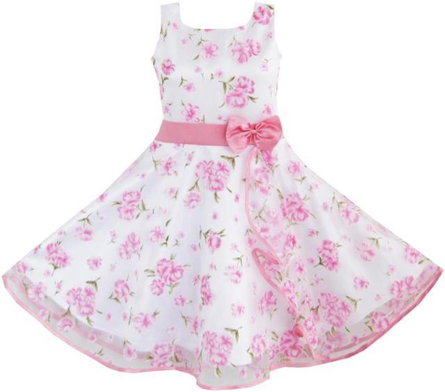 93fcf8508 Sunny Fashion ملابس أطفال بنات 3 طبقات وردي زهرة موجة مسابقة زفاف أطفال  ملابس