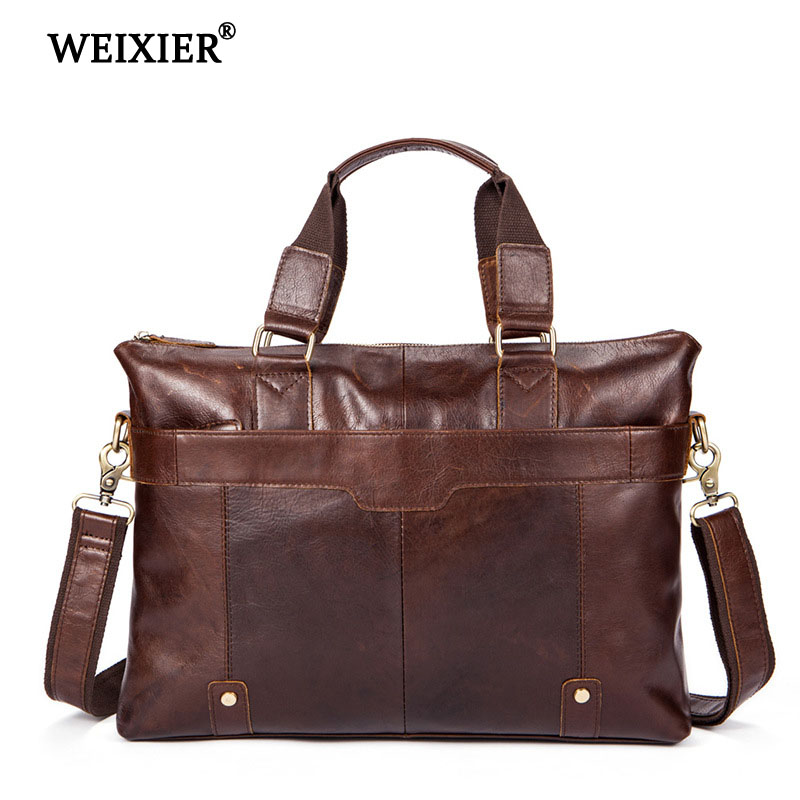 WEIXIER 2019 Retro Solid Color Mens Genuine Leather High Quality Large Capacity Business Travel Handbag Casual Computer HandbagWEIXIER 2019 Retro Solid Color Mens Genuine Leather High Quality Large Capacity Business Travel Handbag Casual Computer Handbag