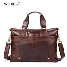 WEIXIER 2019 Retro Solid Color Mens Genuine Leather High Quality Large Capacity Business Travel Handbag Casual Computer