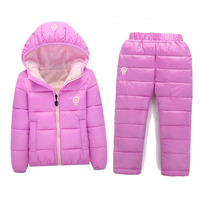 BibiCola Children Set Boys girls Clothing sets Unisex winter Hooded Down parkas+ Trousers Suit Snow Warm jacket clothing