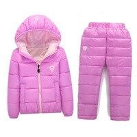BibiCola Children Set Boys girls Clothing sets Unisex winter Hooded Down parkas+ Trousers Suit Snow Warm jacket clothing
