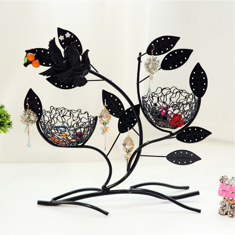 Jewelry Display Rack Double Bird Nest Leaf Shape Earrings Necklace Ring Organize Tray Holder For Home Use or Retail Shop Show Ra