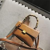 Bamboo Handle Handbag Crocodile Envelop Shoulder Bags PU Leather Ladies Hand Bags Quality Fashion Clutch Purse