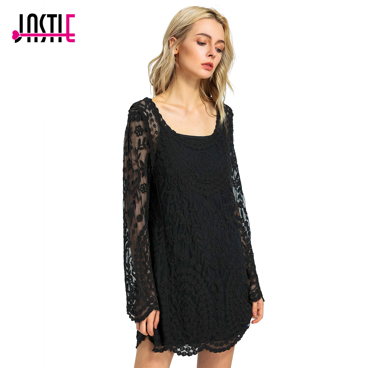 ซื้อที่ดีที่สุด ) }}Jastie Commemorative Bell Sleeve Dress Casual femininos Crochet Floral Lace