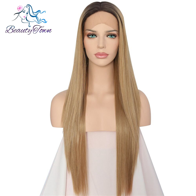 BeautyTown Hand Tied Dark Roots To Blond Ombre High Temperature Fiber Valentine's Day present Synthetic Lace Front Wig For Women-in Synthetic None-Lace  Wigs from Hair Extensions & Wigs    1