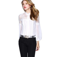 Merry Pretty New Luxury White Black Silk Blouses for Women Brand Blouse With Lace Long Sleeve Female Silk Tops Femininas