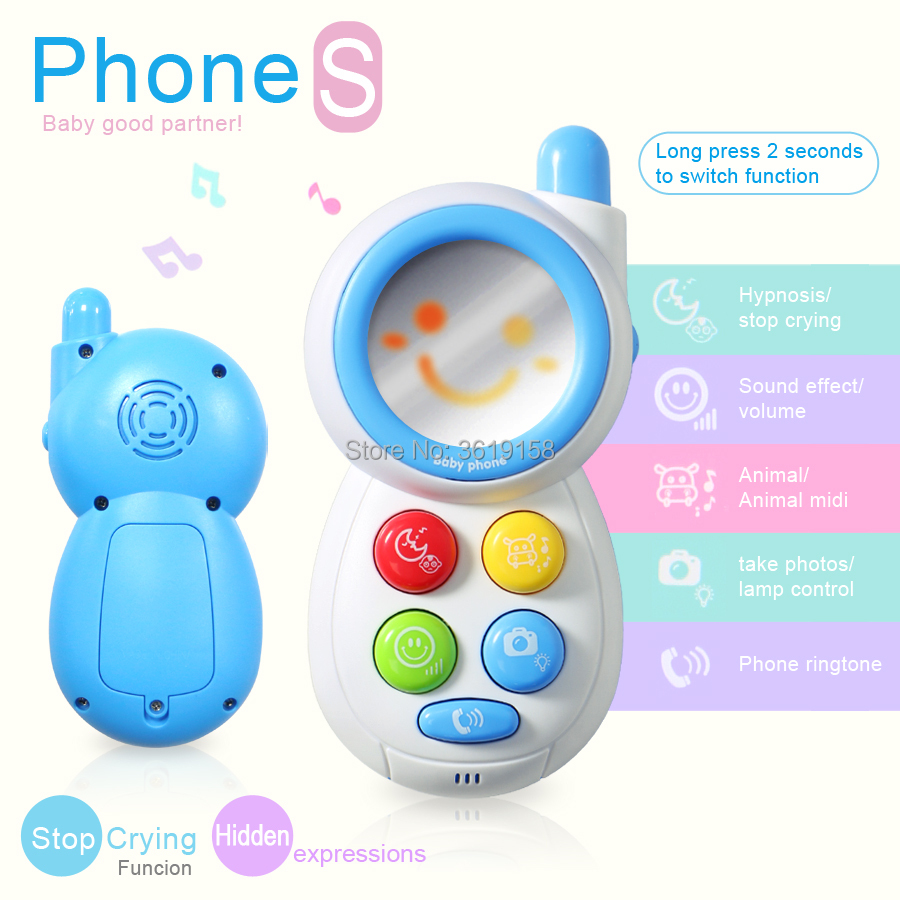 US $8 82 49% OFF|Baby stop crying phone machine musical toy,with mirror  animal sound and light for kid educational smart Mobile Telephone toys-in