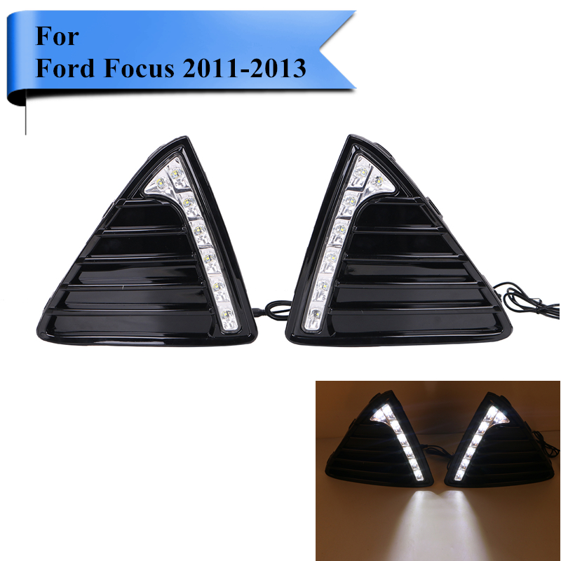 2x Triangle Front LED Fog Light Lamps Grill DRL For Ford Focus i GDI TDCi 2011 2012 2013 Car Daytime Running Light #P515 boomboost led front racing grill grille for ford ranger t7 2016 2017 led light for choice 4 colors available best selling