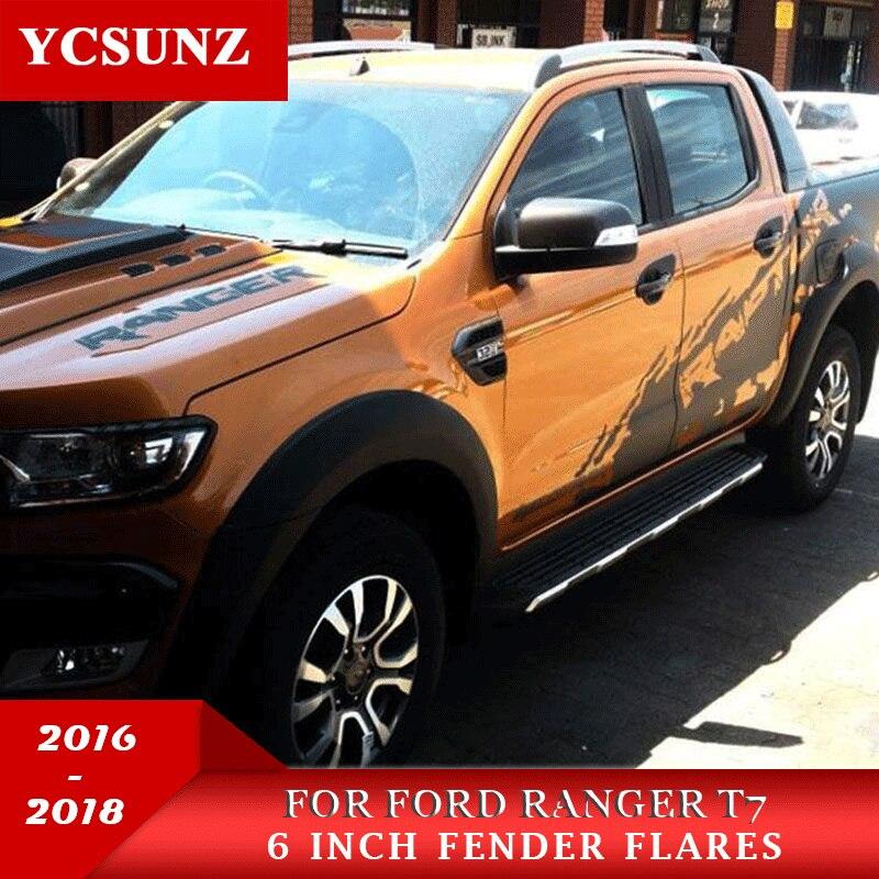 2016-2018 Fender Fusées Pour Ford Ranger 2017 T7 Fender Accessoires Noir Garde-Boue Pour Ford Ranger T7 Wildtrak Voiture ranger Fusées