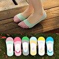 2016 10 шт = 5 пара НОВЫЙ MS летние носки женщины конфеты цвет силикона противоскользящие невидимые носки Хлопчатобумажные носки японский