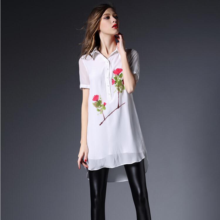 Short Shirts Designs | Summer Style Ink Print Shirt Women White Chiffon Blouses 2015 Long
