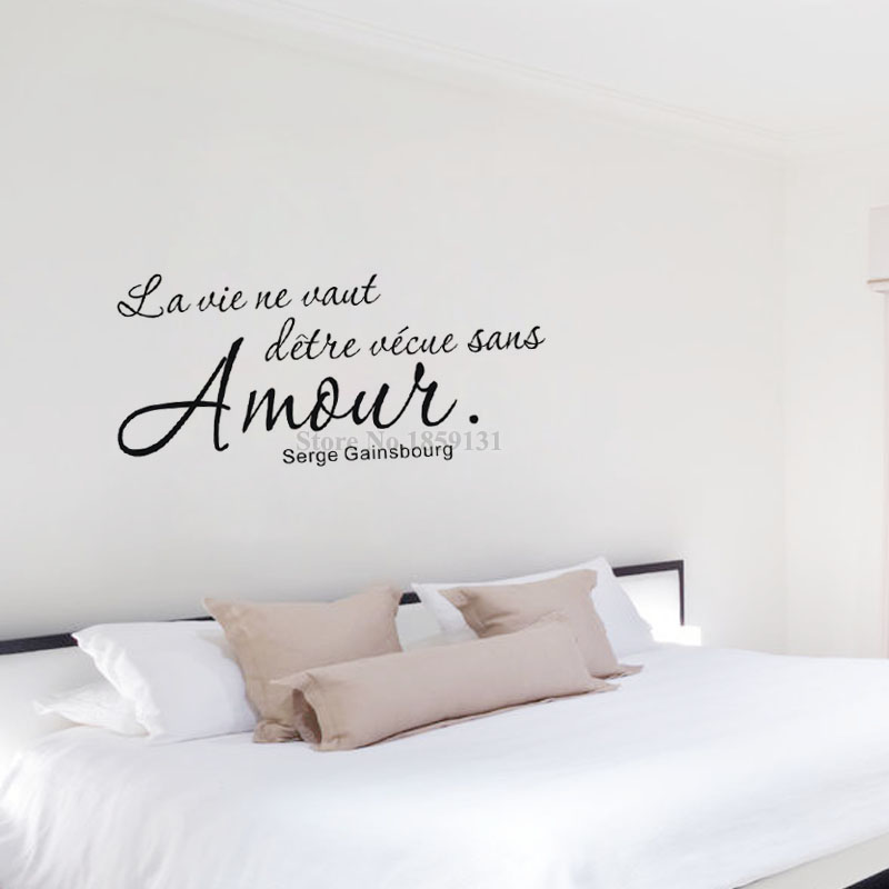 Hot Sale Romantic French Sayings Wall Sticker Quotes Removable Vinyl Art Home Decor Diy Wall Decal