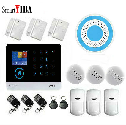 SmartYIBA WIFI Wireless Home Intruder Alarm Security System Accessories APP remote arm/disarm Fire Detector protection Alarm smartyiba gsm sms alarm kits home security protection alarm sensor detector metal remote arm disarm alarm