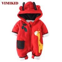 VIMIKID Newborn Baby Girls Boys Clothing Romper Lovely Cotton Long Sleeve Zipper Cartoon Image Of Warm