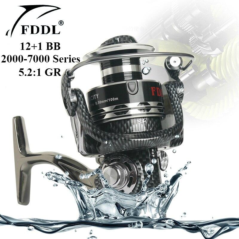 FDDL Рыболовные катушки 12 + 1 BB Подшипник 5.2: 1 Шестерни соотношение Алюминий Предварительная загрузка спиннинг Рыбалка колесо 2000-7000 серии ...