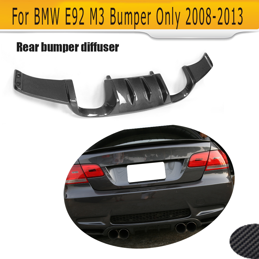 E92 carbon fiber Add On car rear bumper lip Spoiler diffuser for BMW E92 M3 Bumper 2008 - 2013 Convertible Two Style