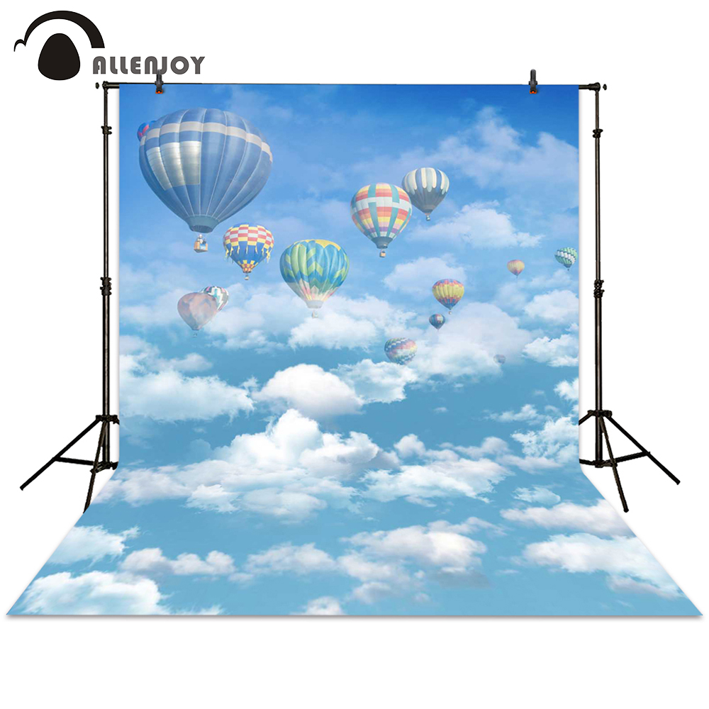 Allenjoy background photography hot air balloon blue sky backdrops photocall photographic photo studio baby newborn children