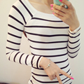 2016 T Shirt For Women Tight Style Casual Tops Stripped Cotton Woman Clothes Plus Size Casual Tee Long Sleeve T Shirt Size S-XXL