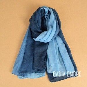 Image 5 - Een Stuk Vrouwen Ombre Hijab Sjaal Mode Moslim Hijaabs Viscose Katoen Islam Hoofd Wraps Vrouwen Foulard Maxi Sjaal Sjaals