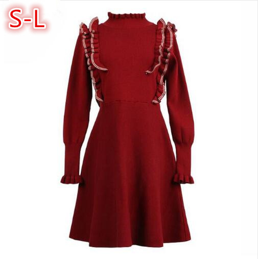 2018 Fashion Women Knitted Dress Spring Autumn Woman Sweater Pullovers Long Sleeve Casual Sweet Ruffles Slim Turtleneck Dresses spring autumn woman dress faux pearl rhinestone beading sleeve cuff knitted dress fashion vintage elastic black red party dress