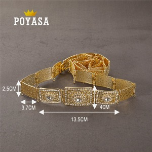 Image 2 - free shippping Moroccan Shining Square Caftan wedding gold and silver Metal belt for women