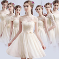 Don's Bridal 2016 Hot Bride maid two shoulder coral chiffon Short Knee Length Sexy bridemaid party gown bridesmaid dresses