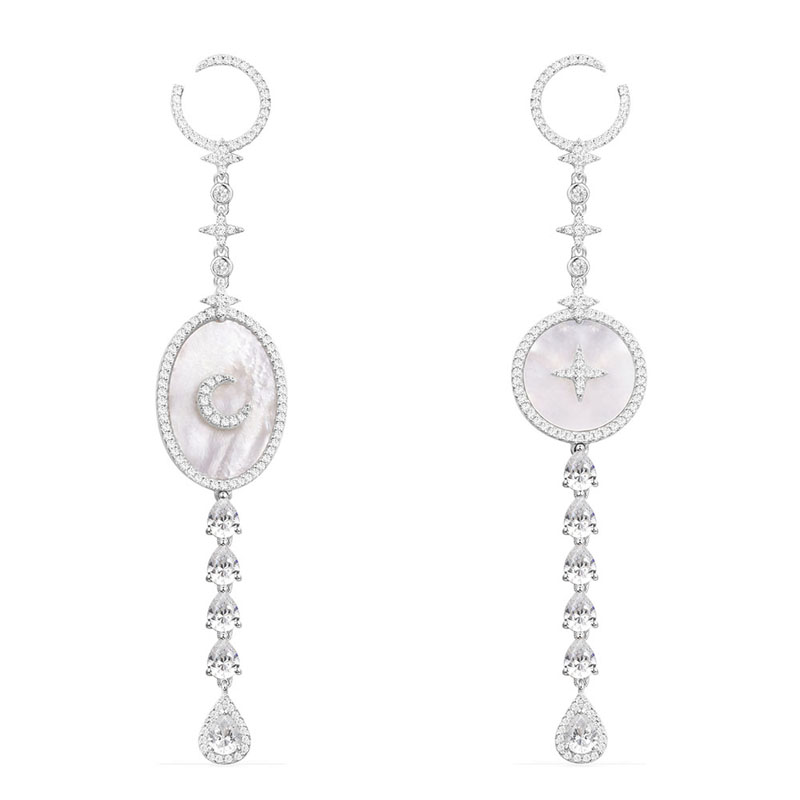 SLJELY 925 Sterling Silver Star Moon Drop Earrings with Mother of Pearl AAA Micro Cubic Zirconia