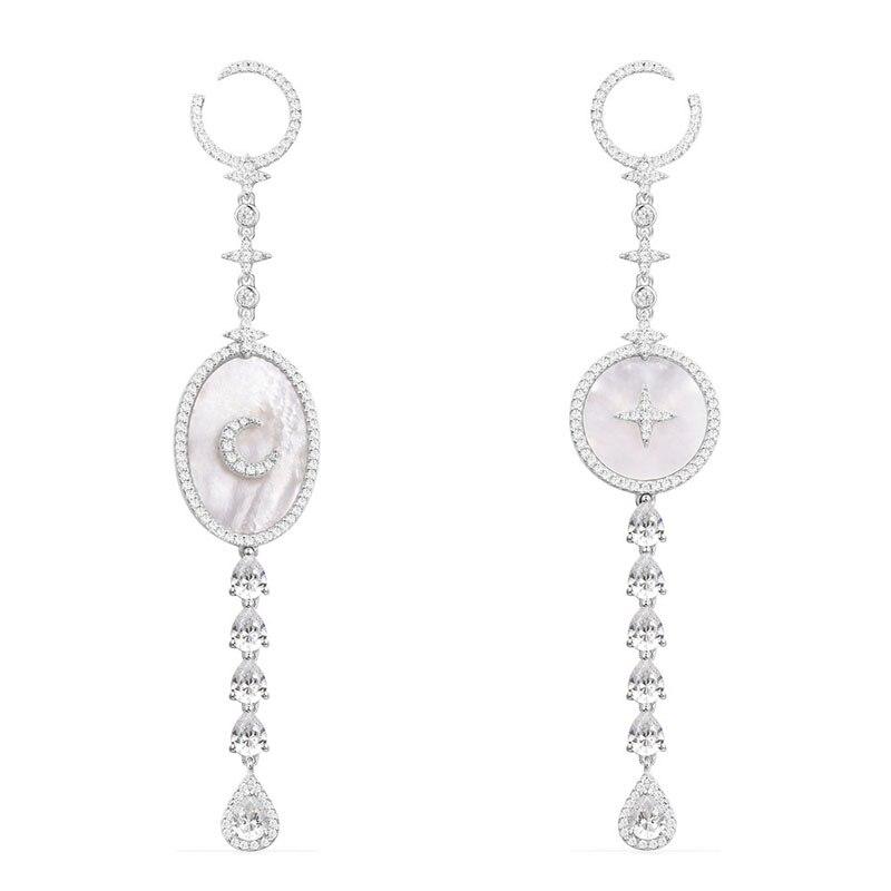SLJELY 925 Plata de Ley estrella y Luna gota pendientes con madre de perla AAA Micro Zirconia cúbica mujer marca de lujo joyería-in Pendientes de gotas from Joyería y accesorios    1