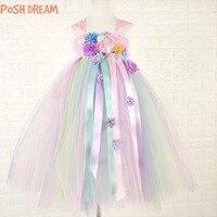 POSH DREAM Unicorn Tutu Dress Sweet Candy Color Flower Girl Wedding Birthday Party Dresses Children Photo Outfit Set