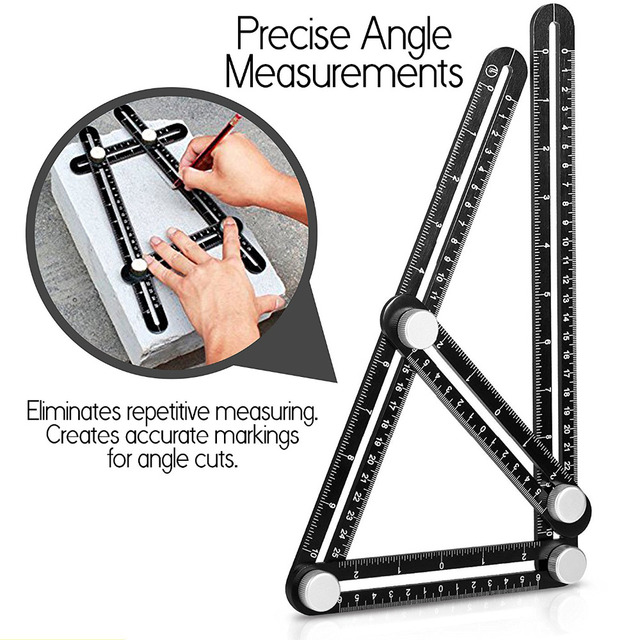 Upgraded Multi Angle Measuring Ruler Aluminum Angle Izer Template