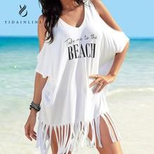 Парео пляжное покрывало хлопок печать Кисточкой Свободные Большой v-образным вырезом пляжная блуза сарафаны кардиган купальный костюм
