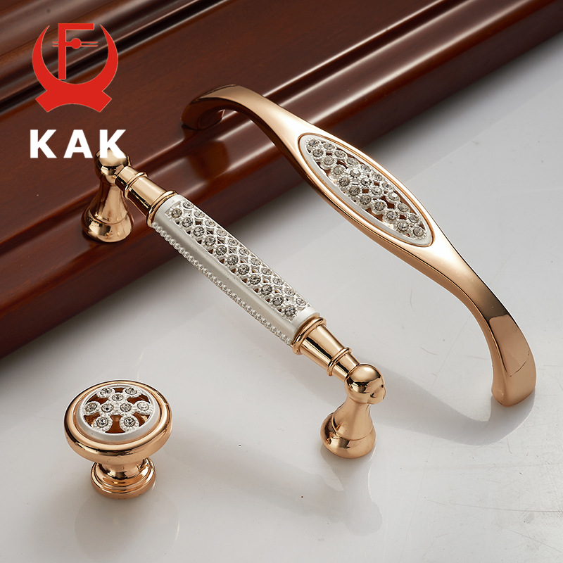 KAK Champagne Gold Door Handles with diamond Luxury Zinc Alloy Cabinet Drawer Knobs European Wardrobe Furniture Handle 1pc simple european aluminum alloy ivory white door handles