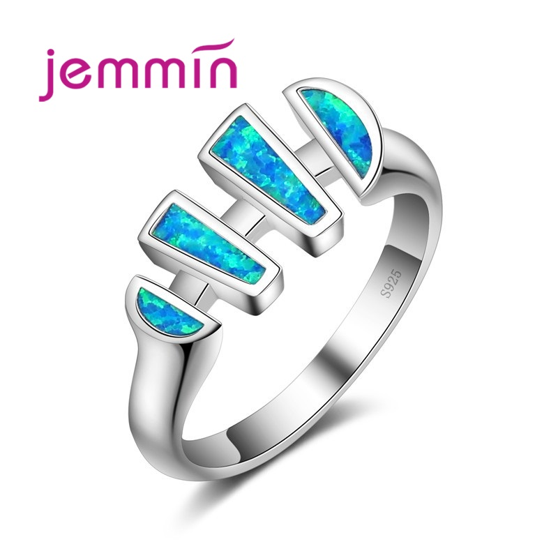 Fashion Irregular Light Blue Opal Rings For Women 925 Sterling Silver Jewelry Party Cocktail Ring For Wedding Gift