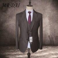 MD 033 Custom Made Suits 2017 Formal Groom Wear Men Tuxedo Dark Grey Wedding Dress Men