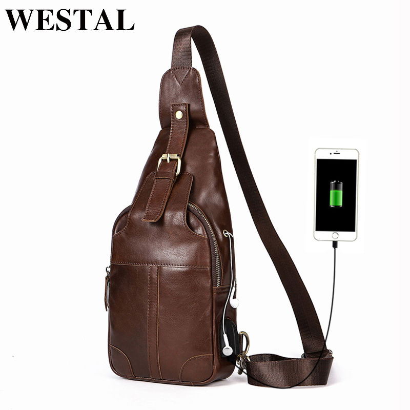 WESTAL Chest Bag USB Recharging Design Genuine Leather Crossbody Bags Mens Shoulder Bags Hasp Sling Bag anti thief 8202WESTAL Chest Bag USB Recharging Design Genuine Leather Crossbody Bags Mens Shoulder Bags Hasp Sling Bag anti thief 8202