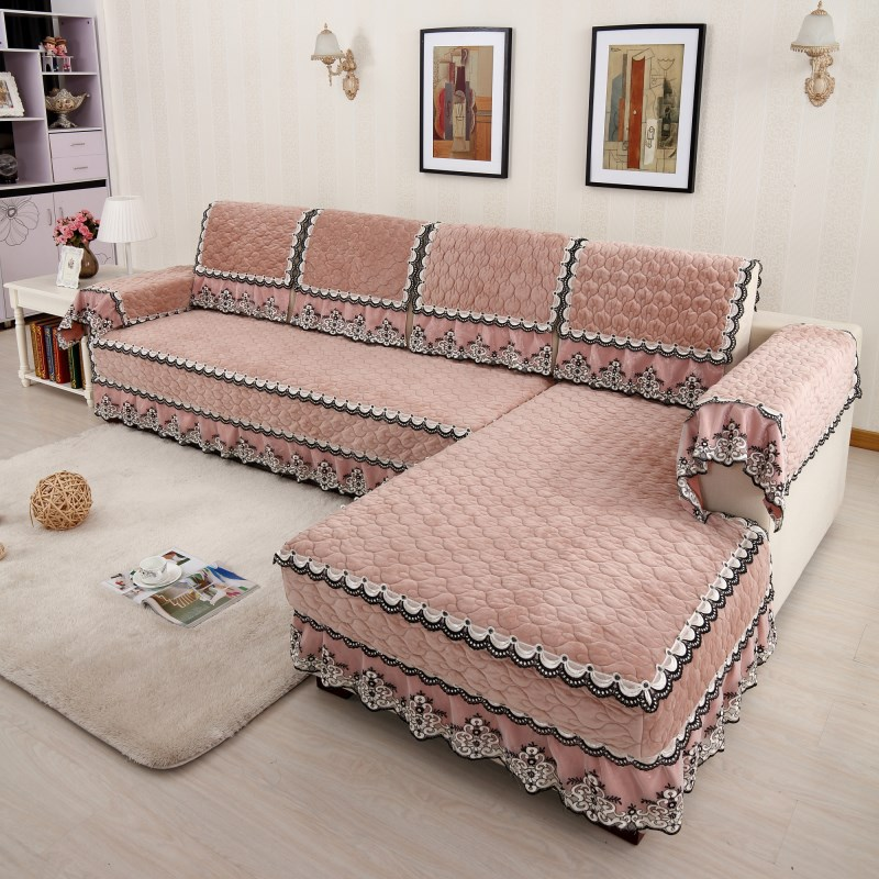 Covering A Sofa With Fabric: Polyester Fabric Sofa Cover European Style Slip Resistant