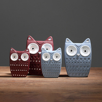 Set of 4 Ceramic Owls Figurines Blue and Red Owls Porcelain Crafts Animal Desktop Statues Home Garden Decoration
