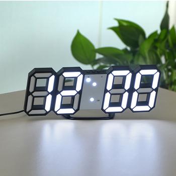 Drzemki USB LED 3D wyświetlacz zegar na biurko cyfrowy zegar stołowy krótkie domu dekoracji elektroniczny zegar na biurko USB Charge Reloj De Pared tanie i dobre opinie Plac DIGITAL Skoki ruch Funkcja drzemki 3D Display Table Watch 225mm 35mm Z tworzywa sztucznego Kalendarze 220mm Zegary biurkowe