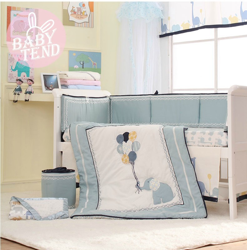 8 Pcs High End Blue Embroidery Elephant Baby Crib Bedding Set Bed Skirt