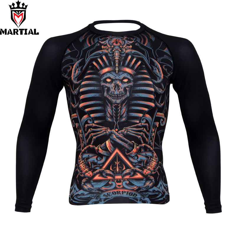 Martial:Scorpio sublimation mma rashguards bjj jersey boxing compression tights running t shirt men sport top