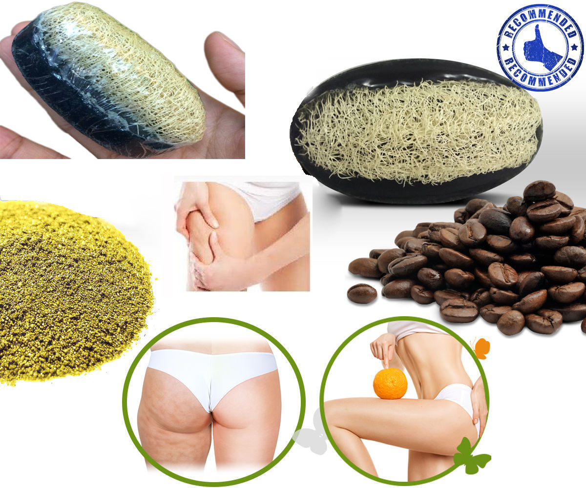 Coffee Gold Collagen Soap Luffa Scrub Detox Skin Smooth Clear Net 60 G. Free Shipping