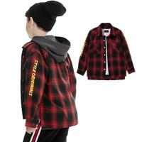Boys Winter Shirt Thick Red Plaid Cotton Long Sleeve Turndown For Kids Good Quality Warm Underwear