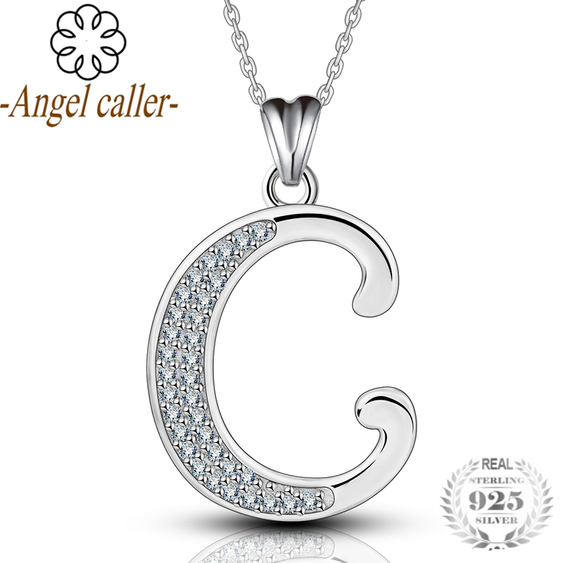 Sliver Letters Pendant Sterling Silver 925 Charms with Chain Choker Lettering Necklace Trendy Fine Jewelry CYD077C