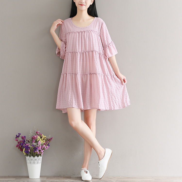 Hippie Boho Mori Girl Bohemian Vintage Retro Loose Pink Cotton Linen Embroidery Ruffle Robe Femme Vestido Women Summer Dress