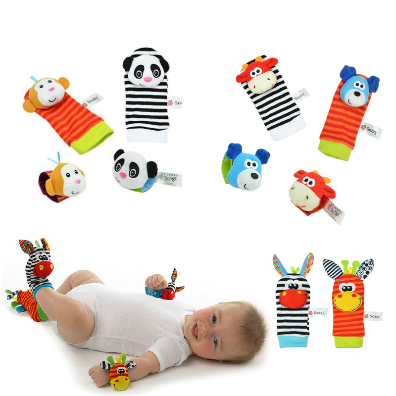Baby Toy Baby Rattles Toys <font><b>Animal</b></font> <font><b>Socks</b></font> Wrist Strap With Rattle for child boy girl Baby Foot <font><b>Socks</b></font> Bug Wrist Strap baby <font><b>socks</b></font> image