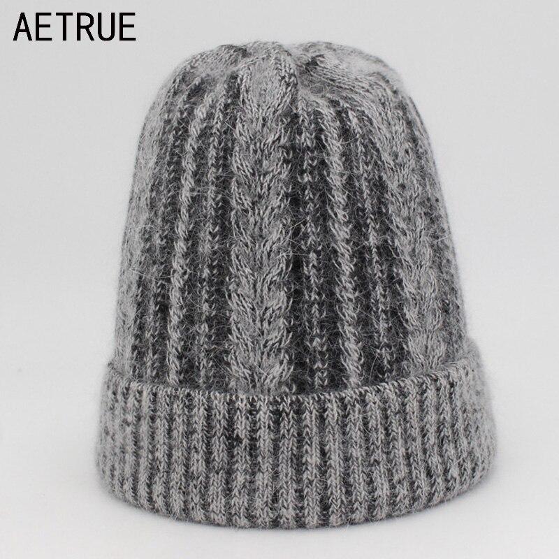 AETRUE Knitted Hat Women   Beanies   Wool Winter Hats For Women Girls Rabbit Fur Warm Caps Bonnet Warm Female   Skullies     Beanies   Hat