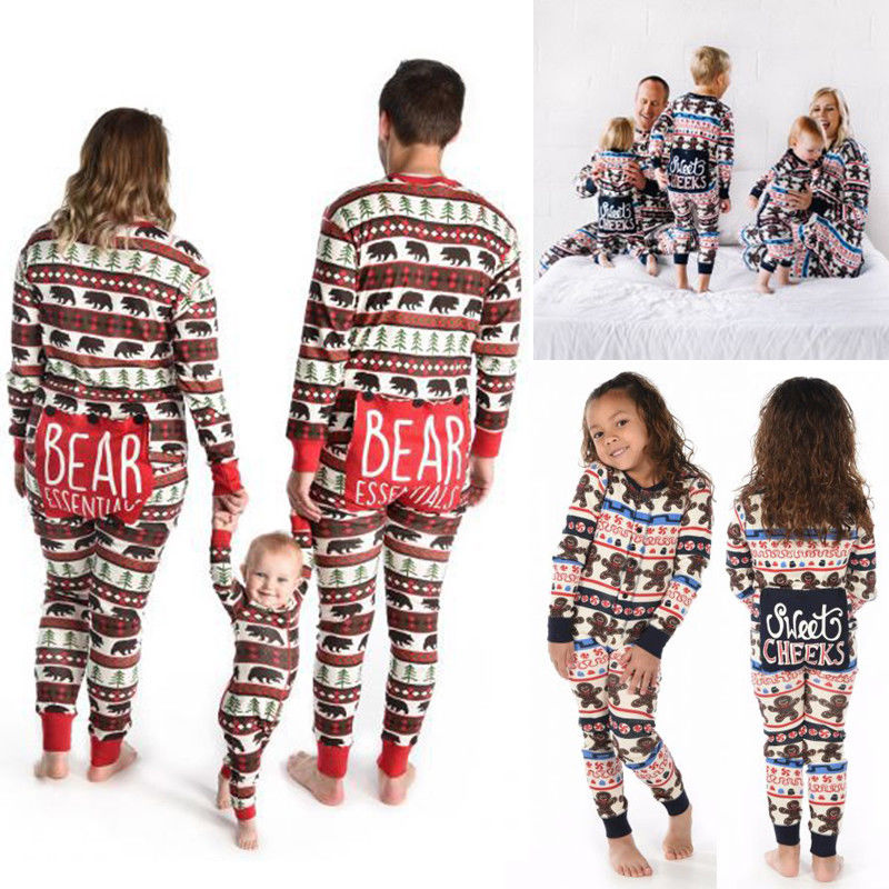 ... big sale 9c81c 61c47 Family Matching Christmas Pajamas Set Mom Dad Kids  Deer Sleepwear Nightwear UK ... bf27c2e52