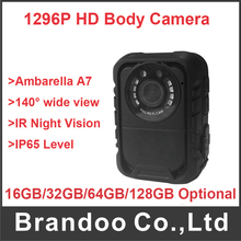 Cheaper 16GB/32GB/64GB/128GB 32GB Ambarella A7 Super HD 1296P Police Body Camera IR Night Version 140 degree Camera